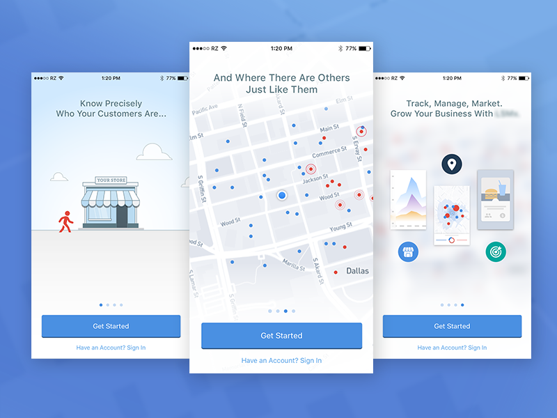 Small Business App Onboarding data visualization map onboarding