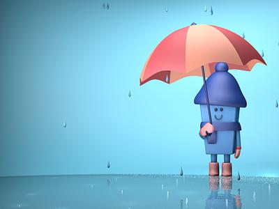 A rainy day character design cinema4d rain modeling 3d artist 3d art