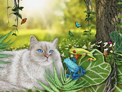 Milo and Frog Friends rainforest art photoshop tree frogs ragdoll cat art licensing animal illustration digital illustration illustration childrens book illustration