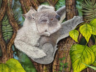 Kirsty the Koala rescues Milo koala ragdoll cat australian rainforest animal illustration adobe photoshop art licensing illustration digital illustration childrens book illustration