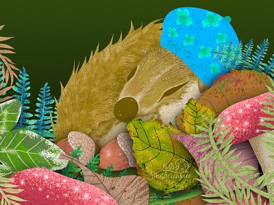 Sleepyhead animal illustration woodland dormouse childrens book illustration digital illustration vector illustration illustraion