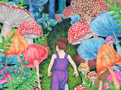 The Magical Path childrens book illustration mushrooms toadstool fantasy forest photoshop fantasy art digital illustration illustration