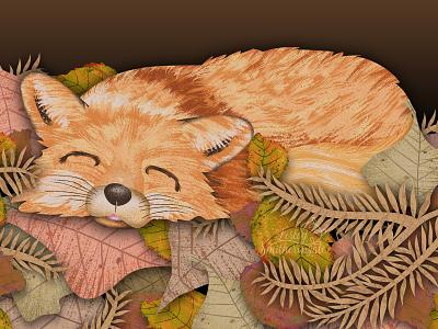 Sleepy Fox vector illustration illustrator foxes childrens book illustration digital illustration