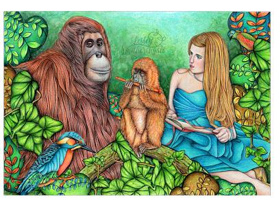 Reading Lesson jungle art jungle monkeys kidslitart fantasy art orangutan colour pencils illustration childrens book illustration
