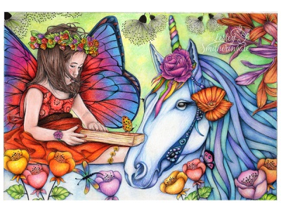 Story Time colour pencils childrens book illustration fantasy fairytale fairy unicorn