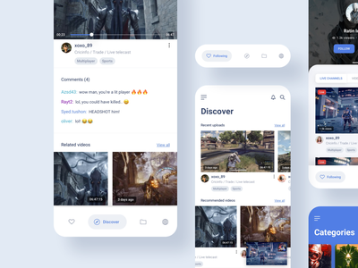 App Redesign Exploration product app ui design uiux categories streaming live video live chat ui kit broadcast video kit live