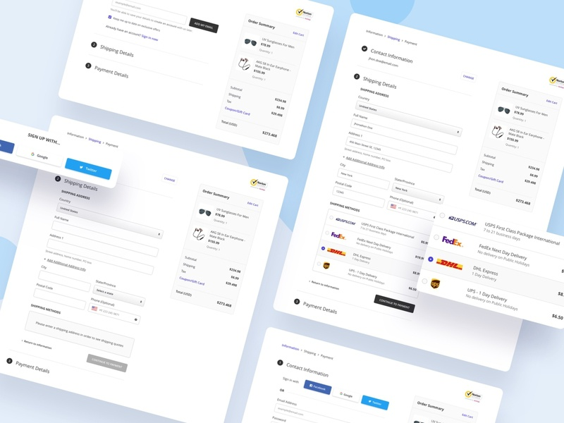 Checkout Flow E-Commerce - Wireframe e-commerce interface wireframe ux flow payment method shipping username professional uxdesign uidesign product checklist dashboard checkbox checkout process checkout flow checkout form checkout