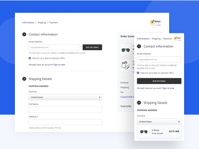 Checkout Flow E-Commerce - Responsive test job bootstrap responsive design payment methods payment address cross platform device security add to cart cart visual user research user flow wireframe flow checkout responsive