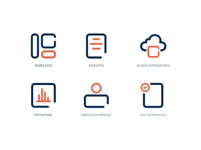 Employee Management System - Icons docket management app dashboard branding red black orange landingpage management employee engagement icons pack iconography iconset icons