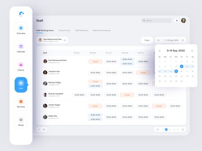 Booking Software System - Famkin schedule setup services staff clients calendar typography fluid design saas software web application inventory appointment system appointment booking booking system booking appointment minimal viable product mvp