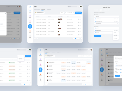 Staff Details Screens for Booking Software System enterprise appointment access script software web app application crew member member add staff add applied to staffing timeline calendar blocked dates closed dates shift shifting staff