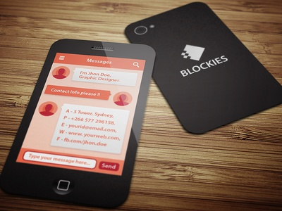 Smart Phone Business Card Template V By Kazi Mohammed Erfan Dribbble - Mobile business card template
