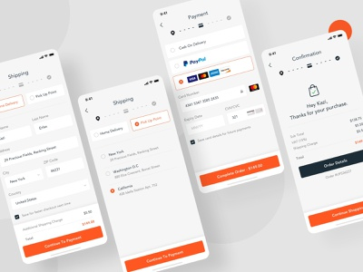 Upsket - Product Checkout Flow delivery pick up product page checkout page shop builder builder app ui shopping shop order shipping payment paypal confirmation concept confirm ecommerce checkout