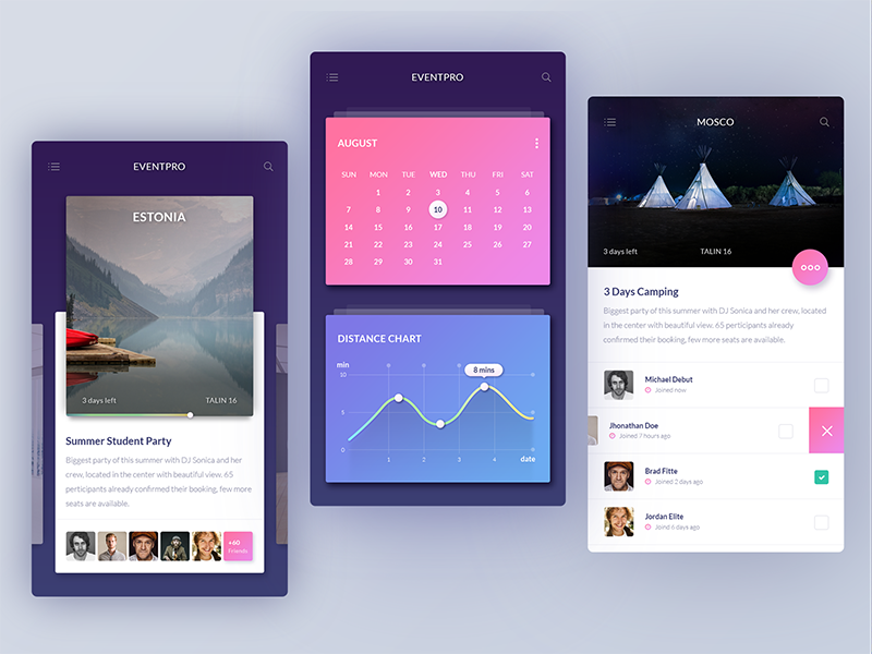 UI challenge #002 — Event Discovery App mobile cards calendar graph screen product interface ux ui app invite event