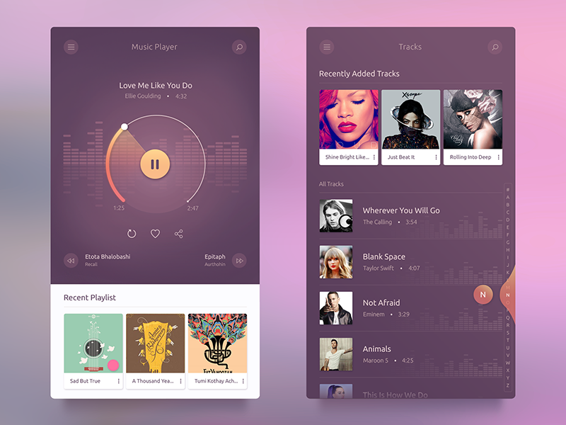 UI challenge #003 — Music Player UI Free screen app freebie free ux ui video audio track song music
