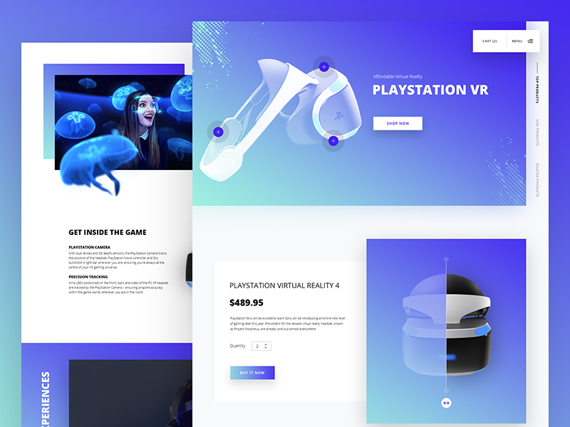 PlayStation Virtual Reality Website Design material design technology interface ux ui website gradient fluent design augmented playstation vr virtual reality