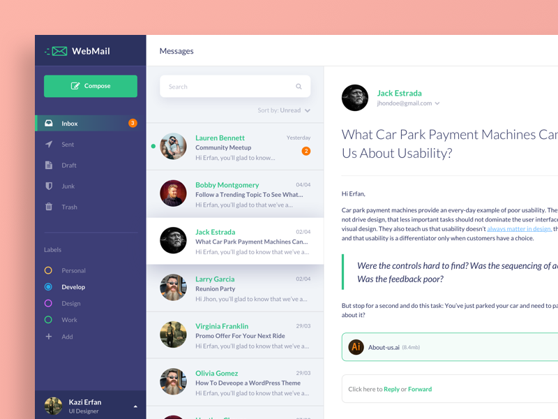Mail Client Web App Dashboard by Kazi Mohammed Erfan on Dribbble