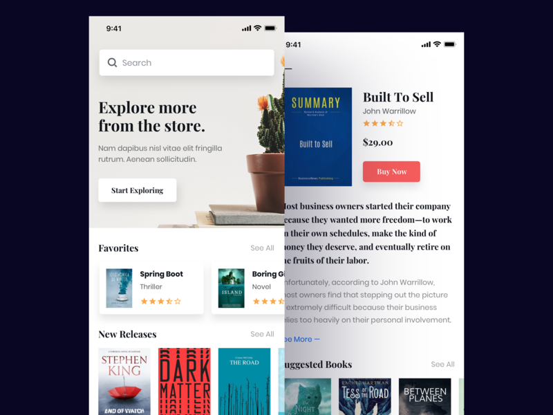 E-book App medium buy visibility e learning uiux app ecommerce shop reading read store book ebook