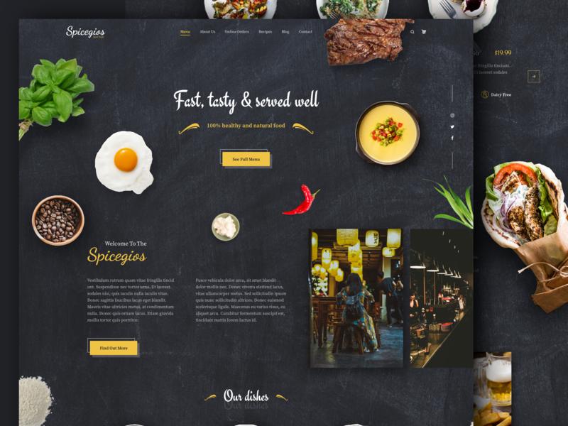Spicegios Restaurant Landing Page food and beverage food app order cafe black dark landing page home menu restaurant app restaurant food