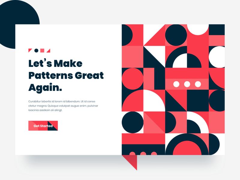 Patterns - Landing Page Exploration header illustration typography color web ux ui shapes shape patterns gradient pattern