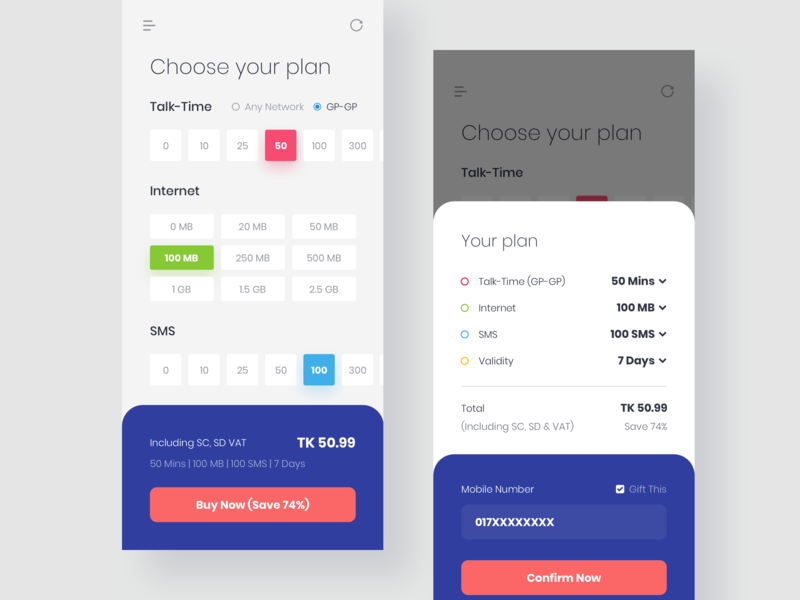 Flexiplan - App Redesign Concept app concept app design app ui app buy booking ux ui bundle package internet plan