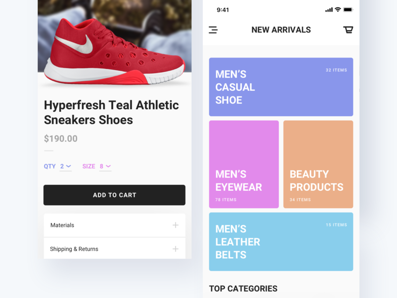 eCommerce App Design Concept order product ios cart nike shoe ux ui app business store ecommerce