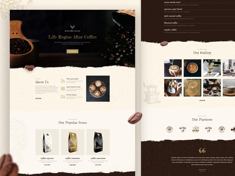 Coffee Shop, Cafe Website - Joomla Layout Pack gallery menu landing page product ux ui cafe branding cafe bean coffee bar coffee bag coffee