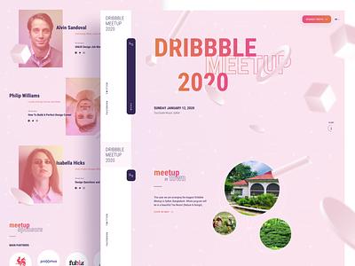 Dribbble Meetup 2020   Landing Page product decoration menu mobile exploration guideline creative interaction uxdesign ux ui landing landing page designer meetup