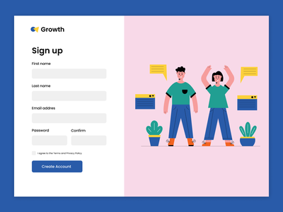 Sign up web ux minimal ui design