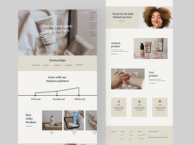 Landing page skincare clean typography ux web uidesign web design landing page website minimal daily ui ui