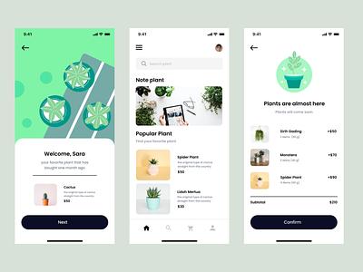 Mobile app plant plantapp design illustration daily ui mobileapp minimal ux ui