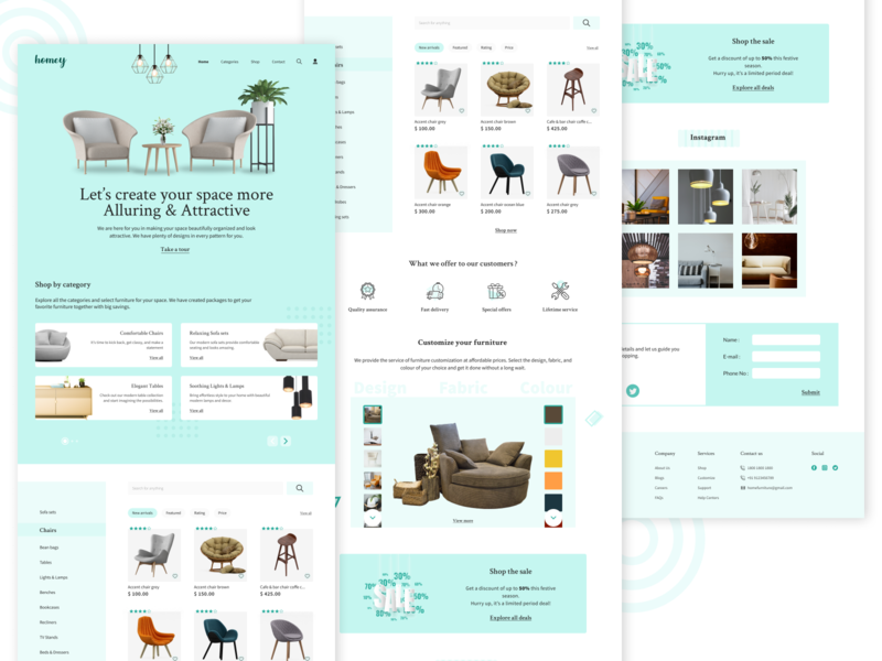 Homey - Landing page illustrator figma ecommerce design customizable furnishing decor user interface design furniture website furniture landing page concept landing page ui landing page design landing page