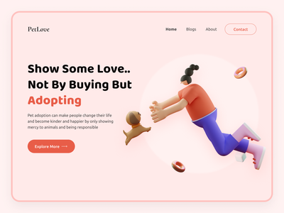 PetLove Web Concept pet care design userinterface user experience hero banner pet love pet template design web design user experience design user interface design