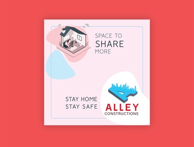 Alley Constructions art print print design vector logo brand identity stay safe stay home house home construction company post social media branding