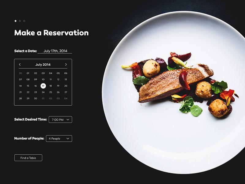 Cellar Goods Reservation Page food reservation restaurant web ui page calendar website