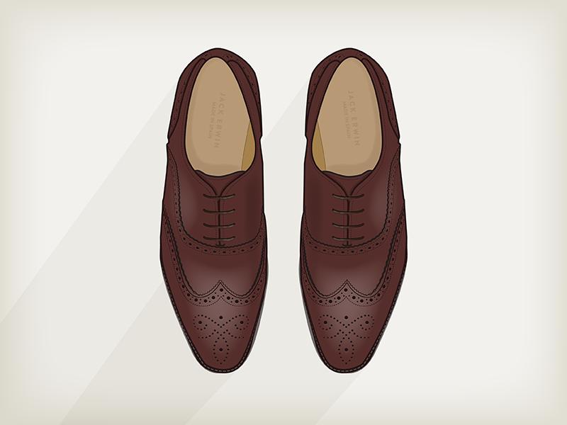 Jack Erwin - Adam Wingtip Oxford - Chestnut erwin adam wingtip oxford chestnut brown shoes style fashion brogues illustration