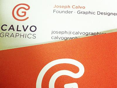 Calvo Graphics Business Card calvo graphics logo identity orange business card