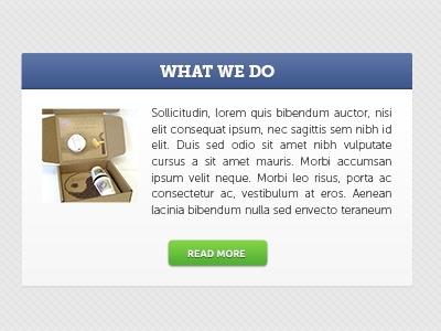 What We Do Box box button green blue museo slab ui web