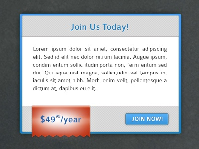 Subscription ribbon ui red blue button pattern subscription