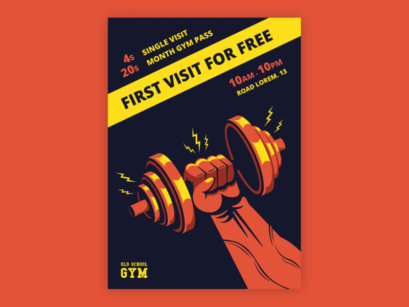 Gym Poster - yellow/orange concept design vector art creative design typogaphy adobe illustrator 2d vector illustrator illustration poster design gym poster gym poster
