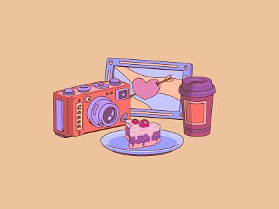Cake love 2d art 2d coffee cup coffee photography design art vectorart vector векторная иллюстрация graphic design предметы design ui illustration