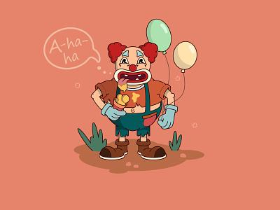 sweet tooth) 2d character 2d art vector illustration creative funny clown clown cream man ice cream cone ice cream funny character cartoon character cartoonish ui icon typography персонаж illustration
