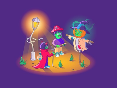 Hey man, do you have any candy for us?...)) childrens illustration children dribbbleweeklywarmup night vectorart characterdesign character halloween design halloween party halloween design art designer design flat design flat illustration art illustration illustrator vector illustration vector