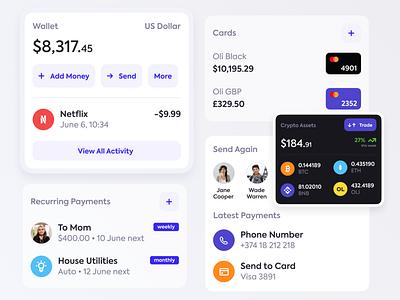 Wallet UI Elements crypto wallet finance bank system uikit design system product fintech ui mobile ui uiux