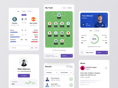 Fantasy Sport Components sportsbook stats components design system cards football fantasy football soccer igaming betting app betting fantasy sports uiux mobile