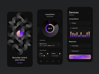Smart Home Application Design betting temperature cryptocurrency dark ui smart home app smarthome graphs iot mobile ui uiux mobile