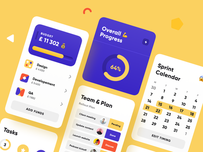 Project Management Blocks budget team progress calendar to do mobile ui ui happy product mobile project management