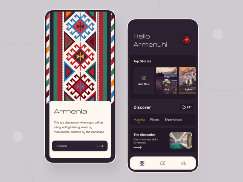 Travel Mobile App ethnic stories pattern ornament illustration uiux mobile armenia travel