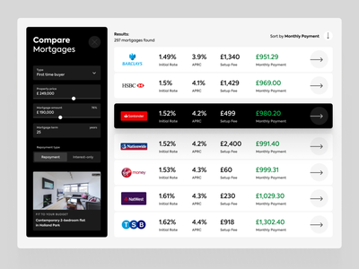 Mortgages Compare uiux filters compare banking mortgage loans mortgages web fintech