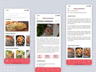 Recipe app homepage iphone red trending food app ui design app ui food recipe app branding minimal clean design interaction app design ux ui  ux cooking recipe app